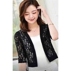 Half sleeve lace crochet open crop cardigan NWT